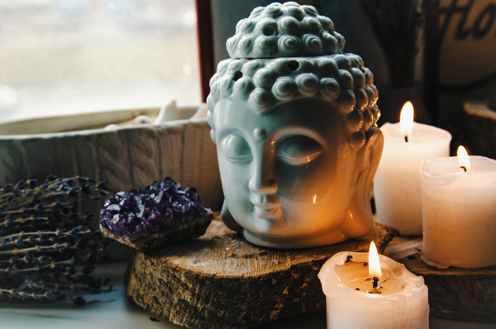 spiritual ritual meditation face of Buddha ametist candles ...